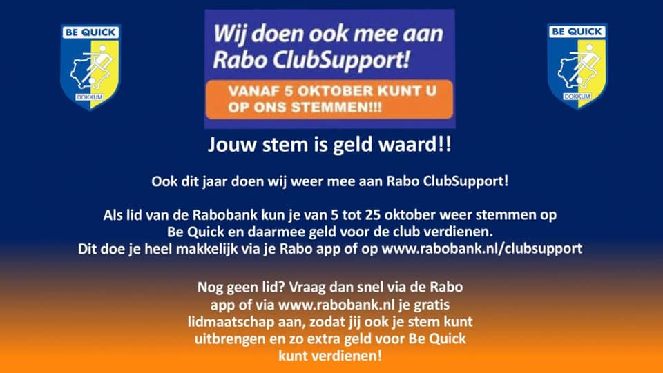 Rabo Clubsupport: Stem op Be Quick Dokkum!