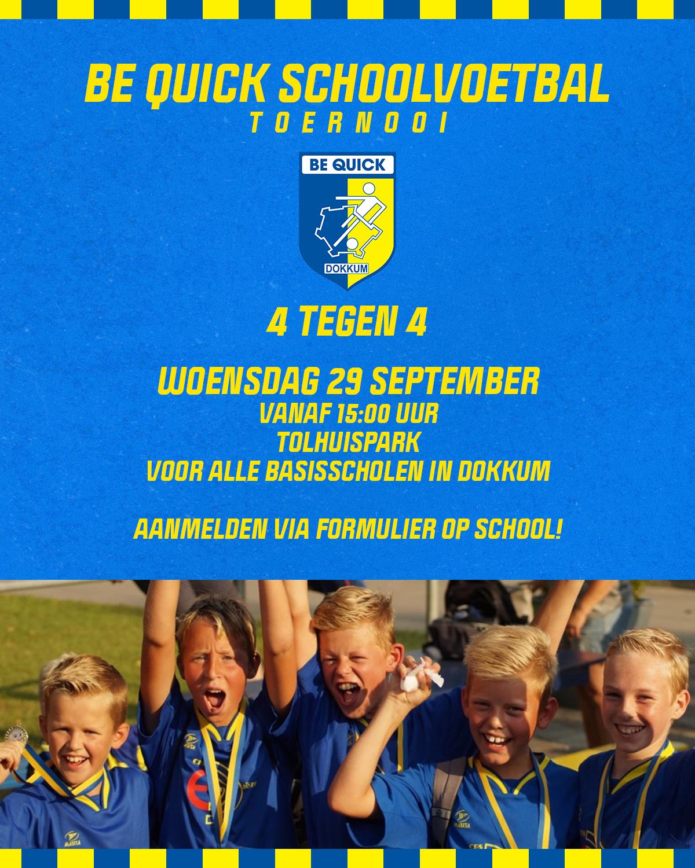 Informatie over Be Quick Schoolvoetbal 4 x 4 op 29 september a.s.